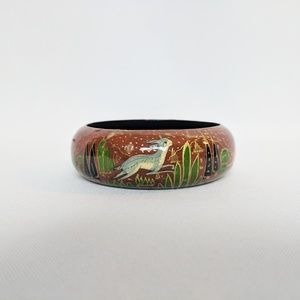 Unique Wooden Laquered Hand Painted Rabbit Bangle